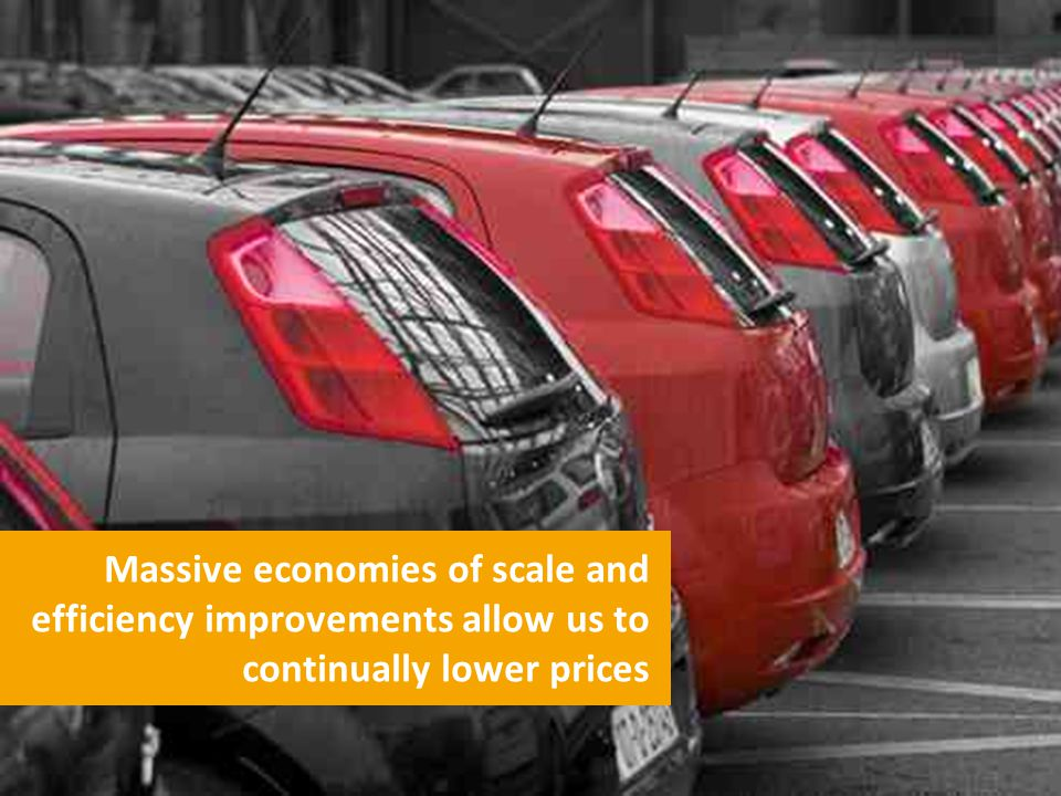 Massive economies of scale and efficiency improvements allow us to continually lower prices