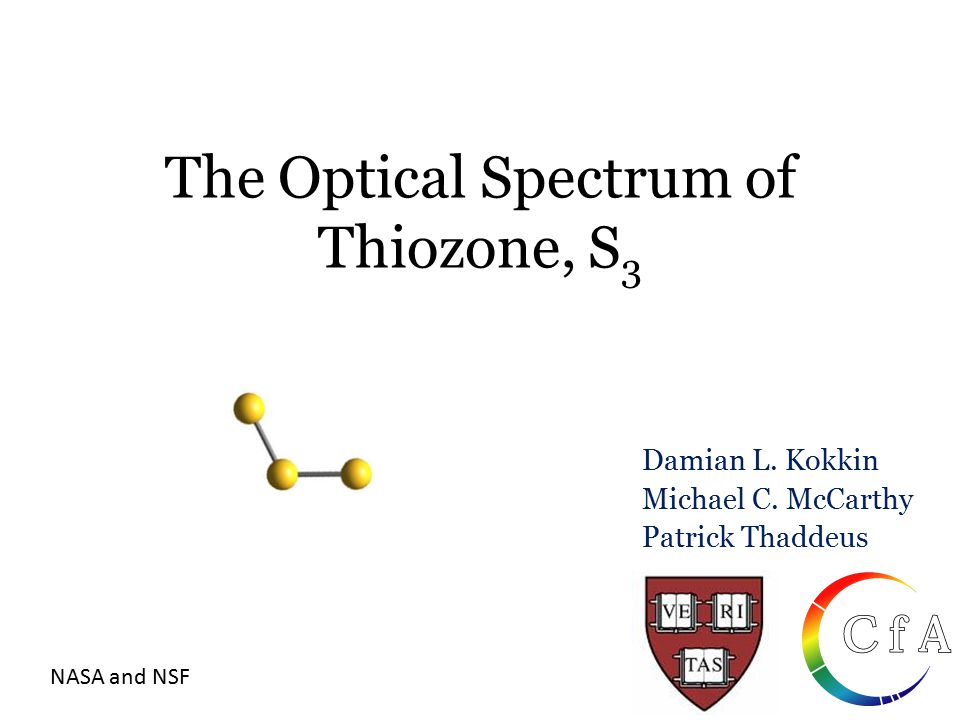The Optical Spectrum of Thiozone, S 3 Damian L. Kokkin Michael C. McCarthy Patrick Thaddeus NASA and NSF
