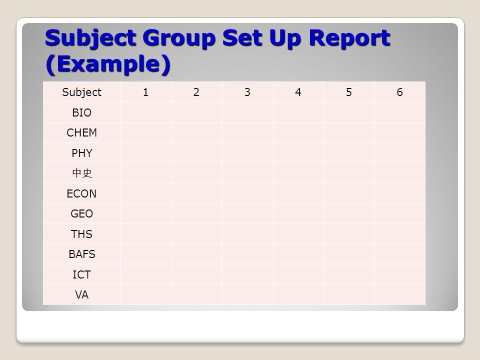 Conflict Matrix Report (Example) SubjectBIOCHEMPHY 中史 ECONGEOTHSBAFSICTVA BIO 222324252627282930 CHEM 2827262524262221 PHY 15161718192021 中史 201918171615 ECON 2524232221 GEO 22232425 THS 222628 BAFS 2725 ICT 23