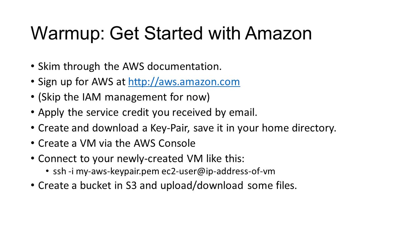 Warmup: Get Started with Amazon Skim through the AWS documentation.