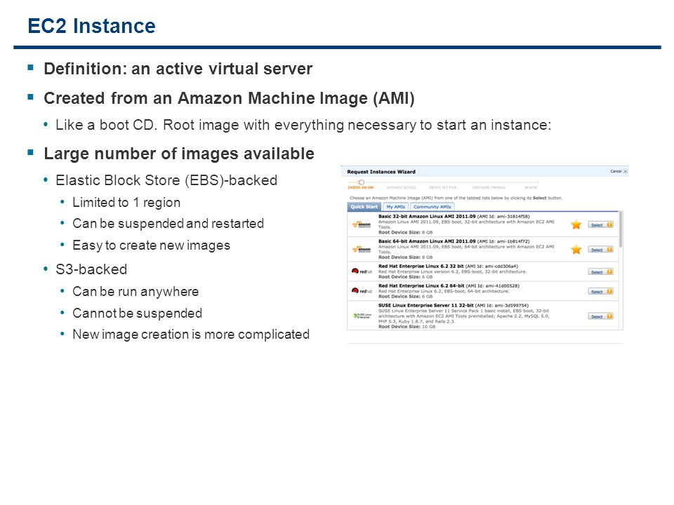 6 EC2 Instance  Definition: an active virtual server  Created from an Amazon Machine Image (AMI) Like a boot CD.