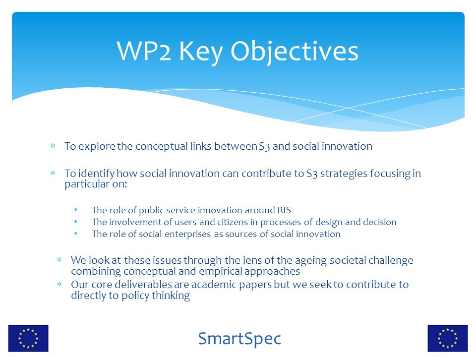 SmartSpec WP2 Key Objectives  To explore the conceptual links between S3 and social innovation  To identify how social innovation can contribute to