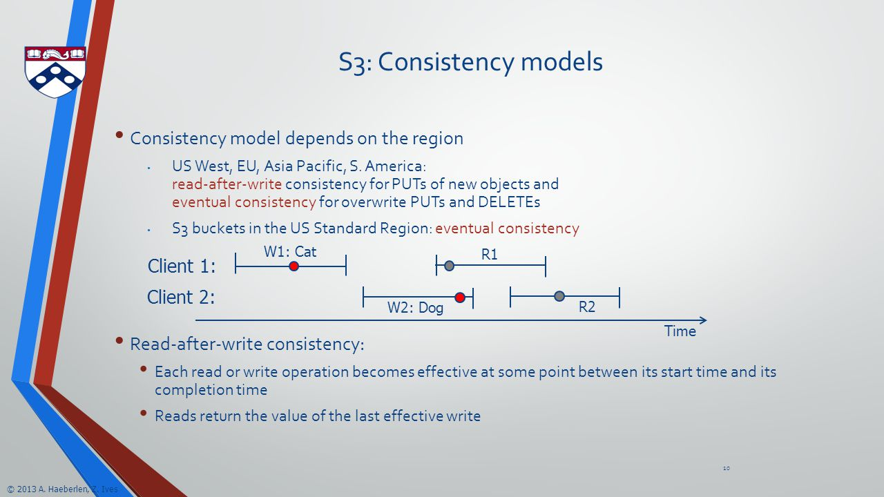 © 2013 A. Haeberlen, Z. Ives S3: Consistency models Consistency model depends on the region US West, EU, Asia Pacific, S. America: read-after-write co