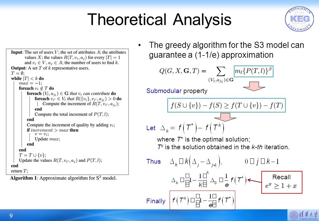 9 The greedy algorithm for the S3 model can guarantee a (1-1/e) approximation Theoretical Analysis Submodular property Let where T* is the optimal solution; T k is the solution obtained in the k-th iteration.