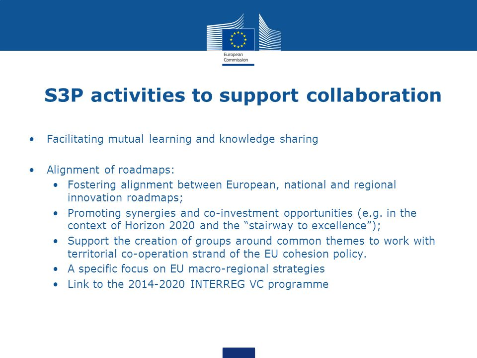 S3P activities to support collaboration Facilitating mutual learning and knowledge sharing Alignment of roadmaps: Fostering alignment between European, national and regional innovation roadmaps; Promoting synergies and co-investment opportunities (e.g.