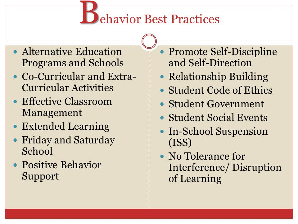 B B ehavior (Group Activity) What types of school behaviors lead to students getting suspended or expelled.