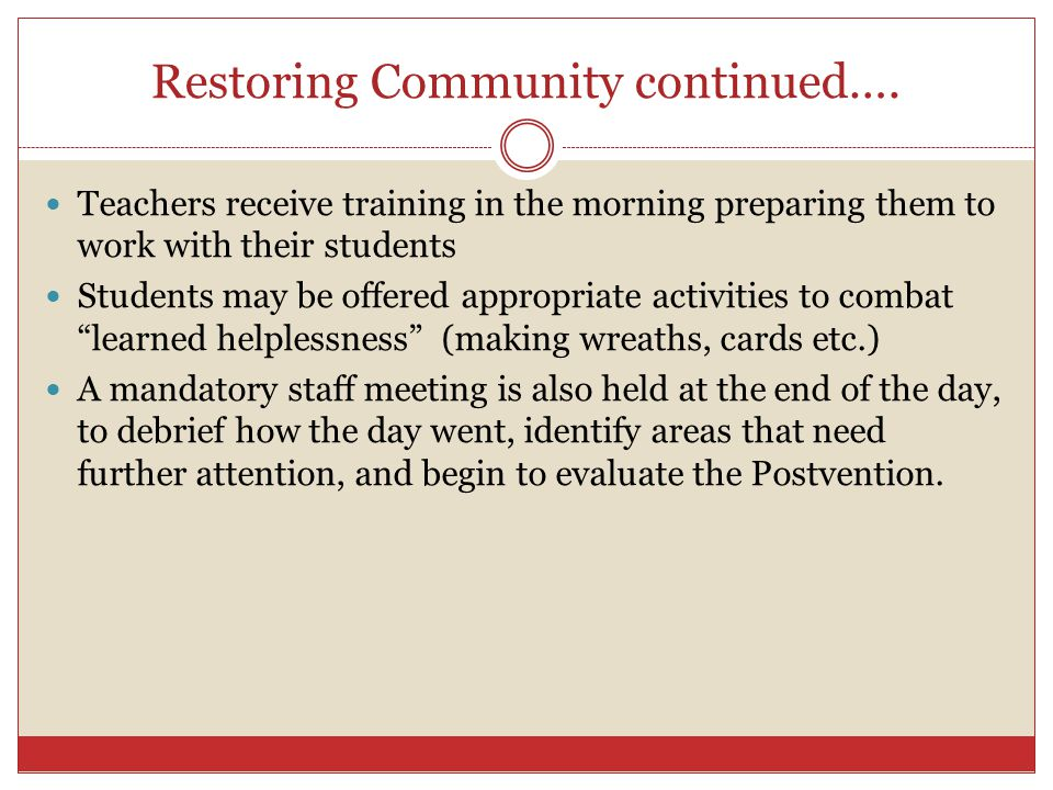 Restoring Community continued….