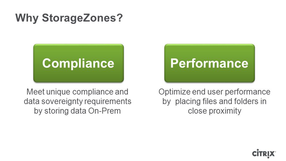 Why StorageZones? Meet unique compliance and data sovereignty requirements by storing data On-Prem Optimize end user performance by placing files and