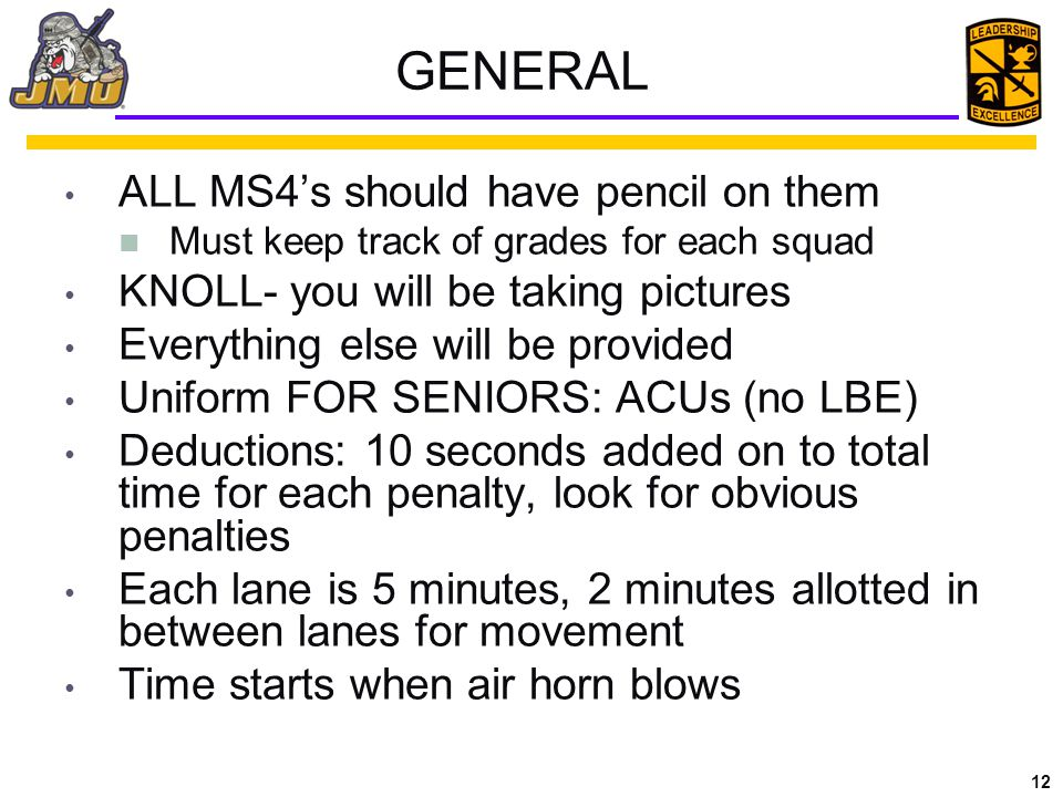12 GENERAL ALL MS4's should have pencil on them Must keep track of grades for each squad KNOLL- you will be taking pictures Everything else will be provided Uniform FOR SENIORS: ACUs (no LBE) Deductions: 10 seconds added on to total time for each penalty, look for obvious penalties Each lane is 5 minutes, 2 minutes allotted in between lanes for movement Time starts when air horn blows