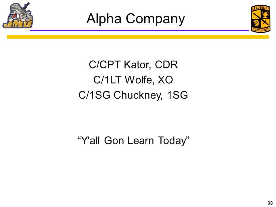 38 Alpha Company C/CPT Kator, CDR C/1LT Wolfe, XO C/1SG Chuckney, 1SG Y all Gon Learn Today