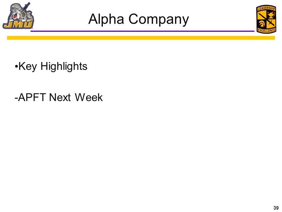 39 Alpha Company Key Highlights -APFT Next Week