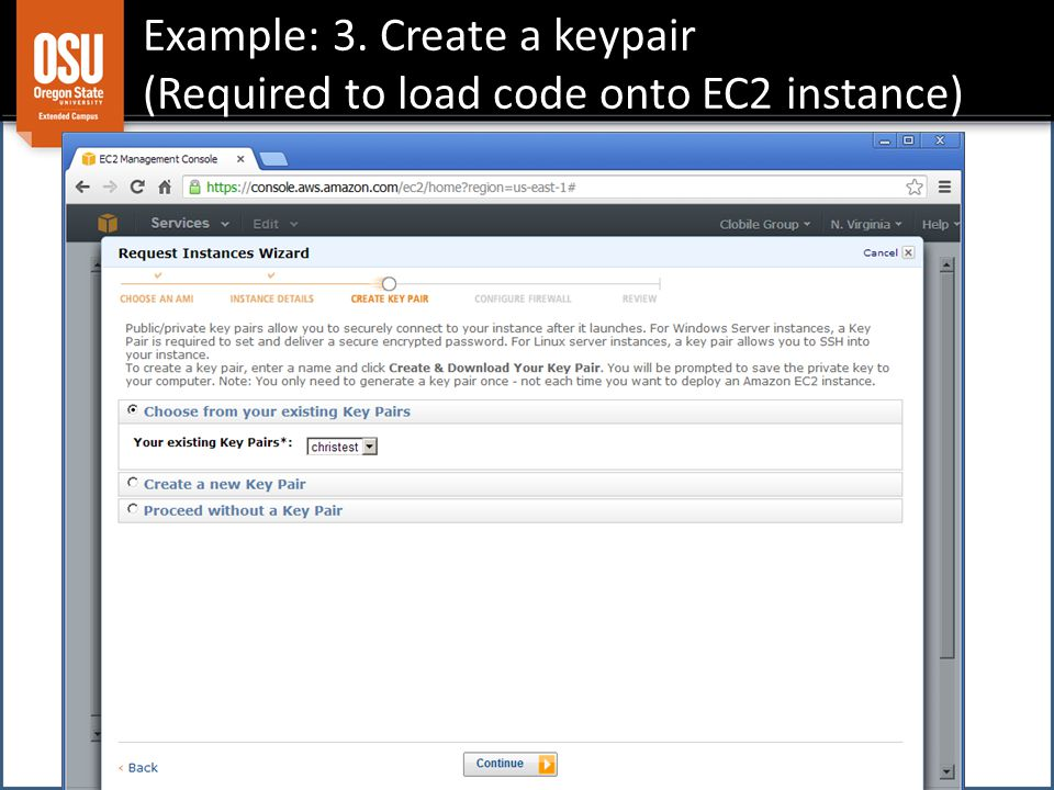 Example: 3. Create a keypair (Required to load code onto EC2 instance)