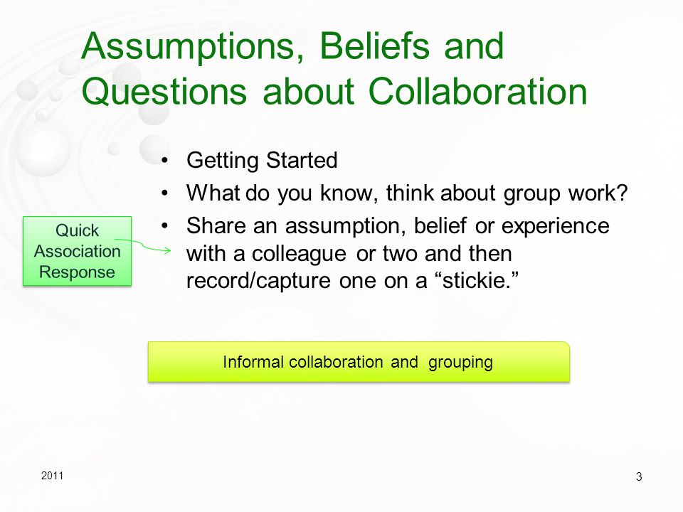 Example 2: Developing Skills and Building Mutual Support Prepare a set of problems, or other learning assignment Focus on a particular skill to practice Close to learner's zones of proximal development Problems are best if they challenge the students Prepare a procedure or checklist for working on the problems Consider grouping tasks, problems in terms of difficulty Learners pair up Work on problems individually and then together - via phone or net, taking turns talking the problem through, teaching and testing each other using checklist or procedure Can support peer review Individual work and then shared in a blog.