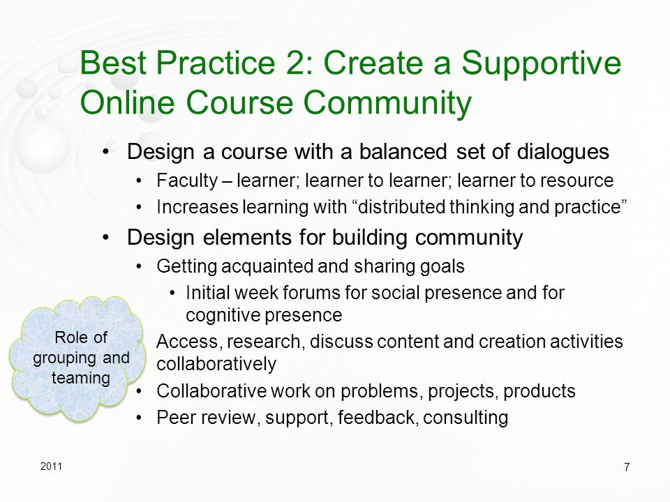 Best Practices - Phases of Engagement in a Course 2011 8 Student Learner Faculty Designer & Director Phase 1NewcomerSocial & Cognitive negotiator Phase 2Cooperator & Planner Structural director Phase 3Collaborator & Thinker Facilitator Phase 4Initiator/Partner & Doer Community member & Challenger & Assessor Adapted from Conrad, R.