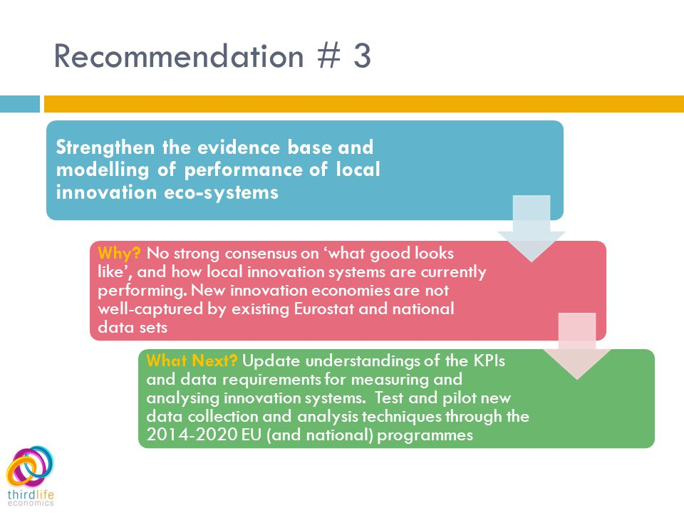 Recommendation # 3 Strengthen the evidence base and modelling of performance of local innovation eco-systems Why.