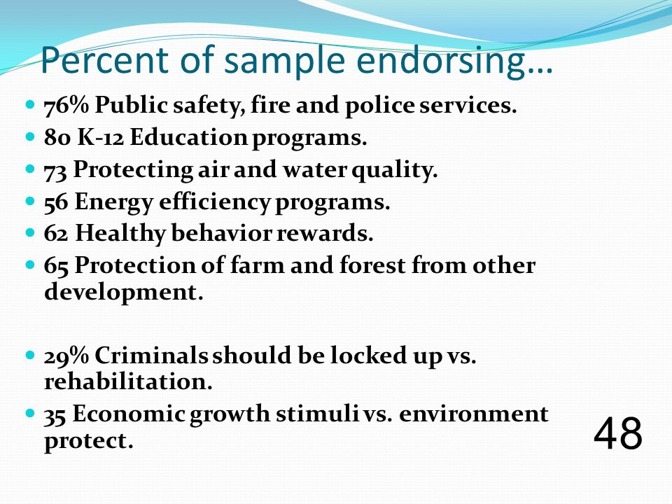 Percent of sample endorsing… 76% Public safety, fire and police services.