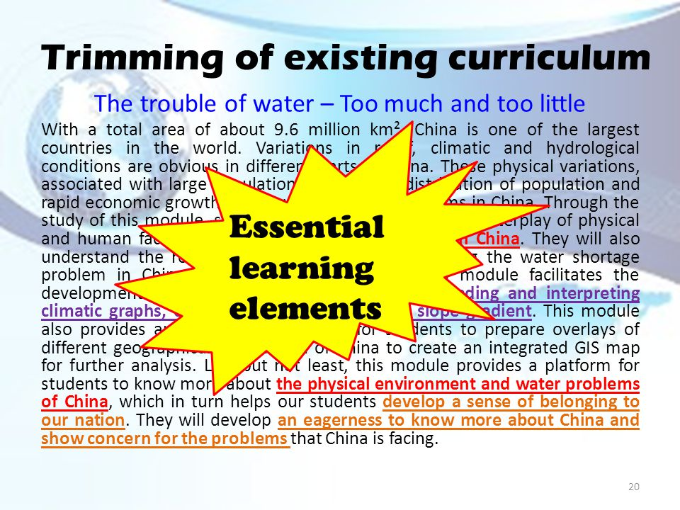 Trimming of existing curriculum The trouble of water – Too much and too little With a total area of about 9.6 million km², China is one of the largest countries in the world.