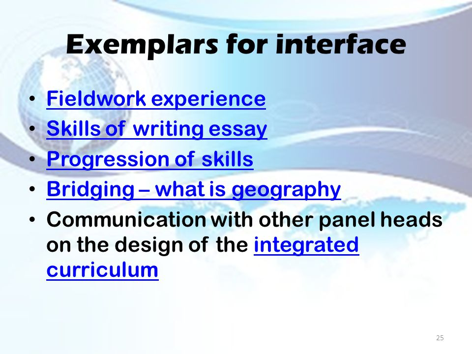 Exemplars for interface Fieldwork experience Skills of writing essay Progression of skills Bridging – what is geography Communication with other panel heads on the design of the integrated curriculumintegrated curriculum 25