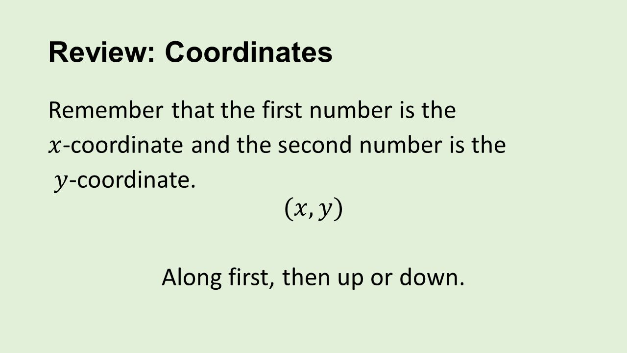 Review: Coordinates