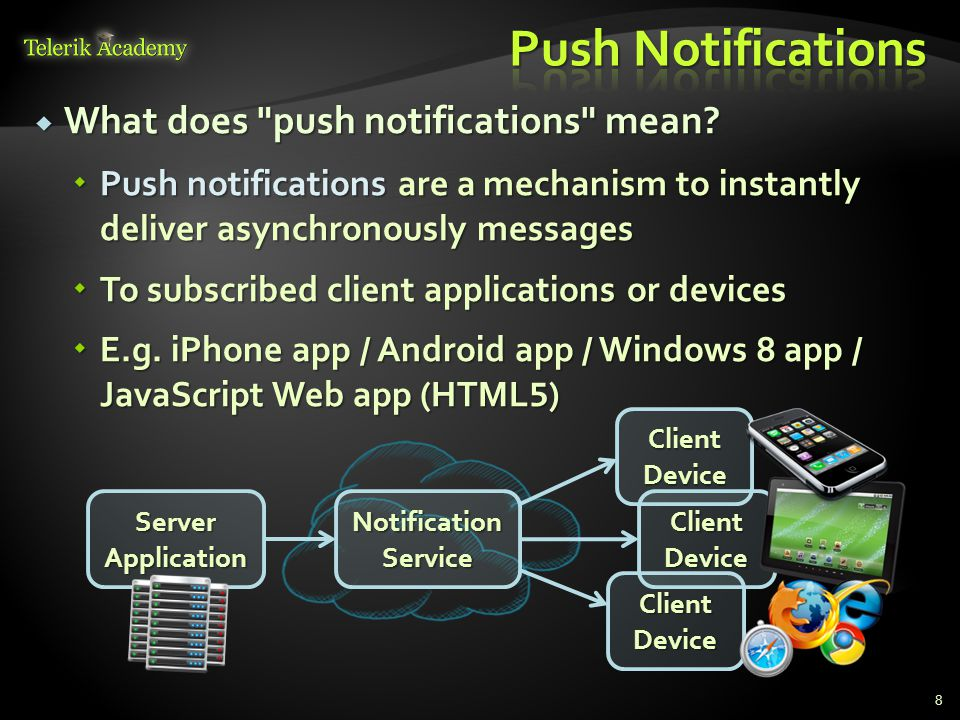 8  What does push notifications mean.
