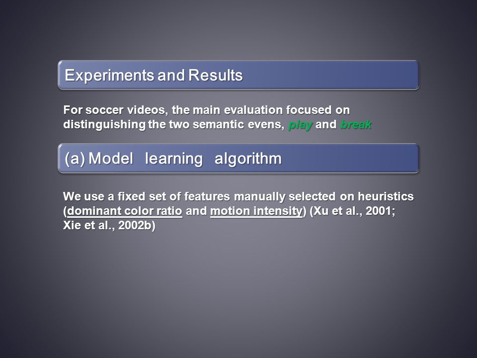 Experiments and Results For soccer videos, the main evaluation focused on distinguishing the two semantic evens, play and break (a) Model learning algorithm We use a fixed set of features manually selected on heuristics (dominant color ratio and motion intensity) (Xu et al., 2001; Xie et al., 2002b)