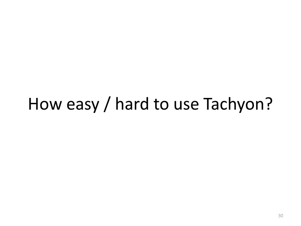 How easy / hard to use Tachyon? 30