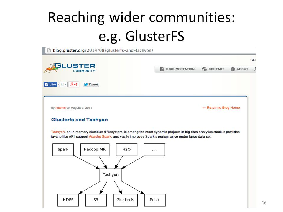 Reaching wider communities: e.g. GlusterFS 49
