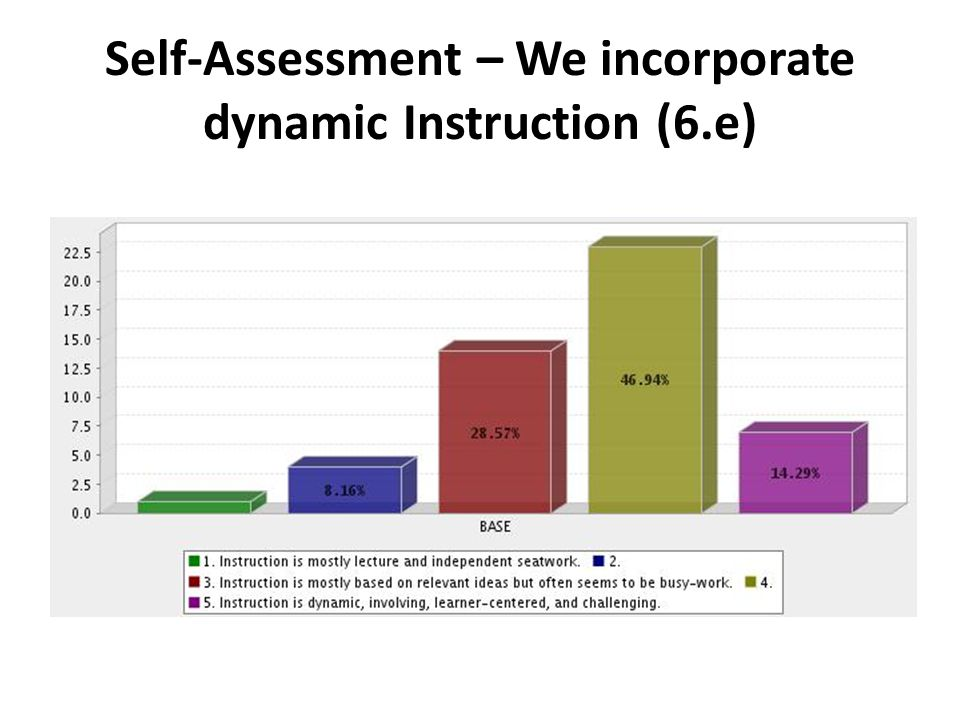 Self-Assessment – We incorporate dynamic Instruction (6.e)