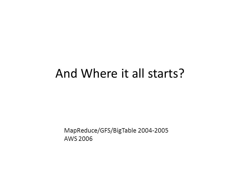 And Where it all starts? MapReduce/GFS/BigTable 2004-2005 AWS 2006