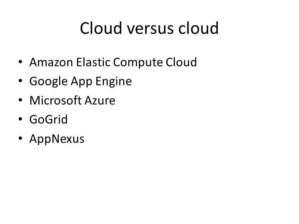 Cloud versus cloud Amazon Elastic Compute Cloud Google App Engine Microsoft Azure GoGrid AppNexus
