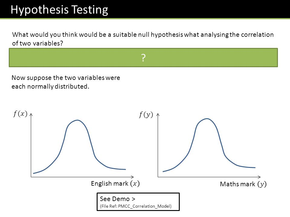 Hypothesis Testing What would you think would be a suitable null hypothesis what analysing the correlation of two variables? The null hypothesis in ge