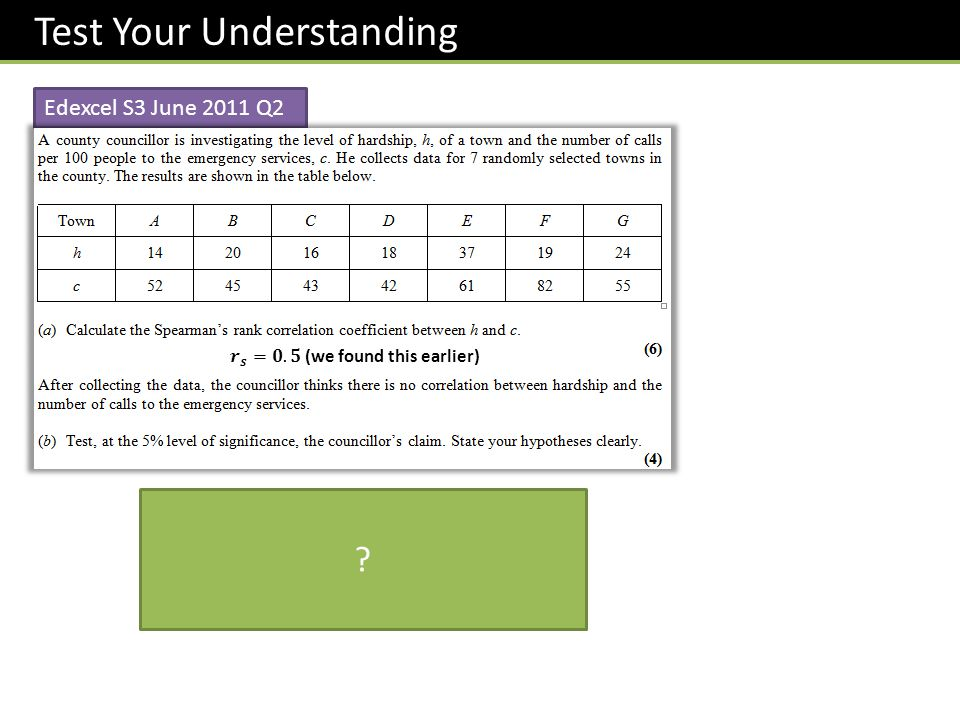 Test Your Understanding Edexcel S3 June 2011 Q2 ?