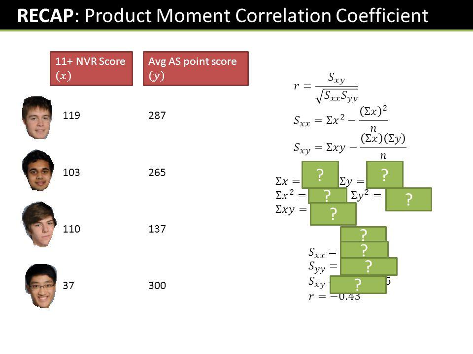 RECAP: Product Moment Correlation Coefficient 119 103 110 37 287 265 137 300 ?? ? ? ? ? ? ? ?