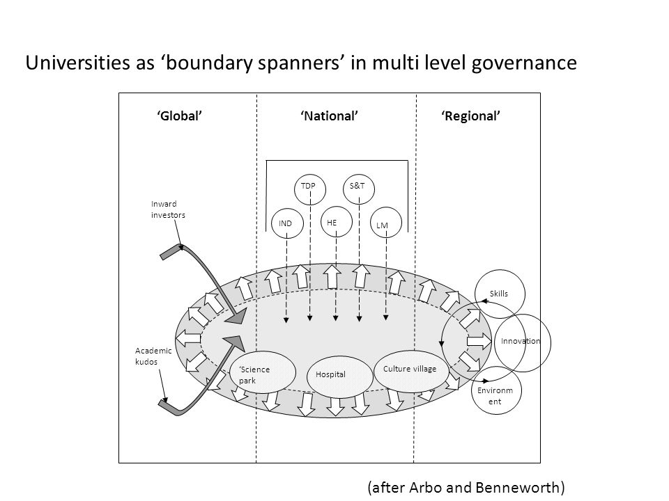 Universities as 'boundary spanners' in multi level governance SkillsEnvironm ent 'National' LM TDP IND HE S&T 'Global' Academic kudos 'Regional' 'Science park HospitalCulture village Inward investors Innovation (after Arbo and Benneworth)