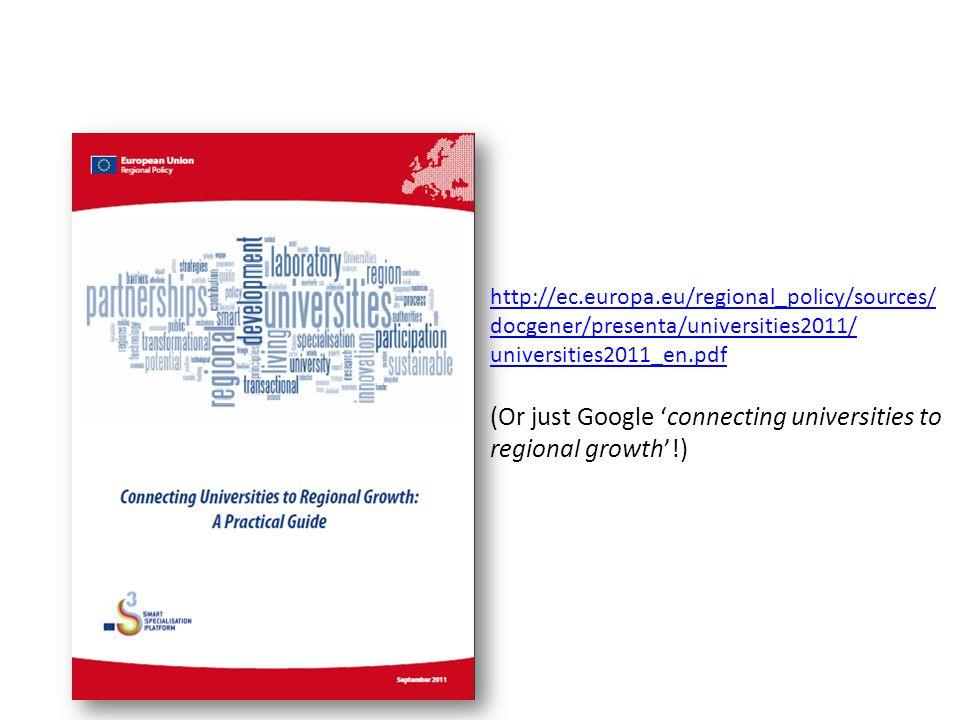 http://ec.europa.eu/regional_policy/sources/ docgener/presenta/universities2011/ universities2011_en.pdf (Or just Google 'connecting universities to r