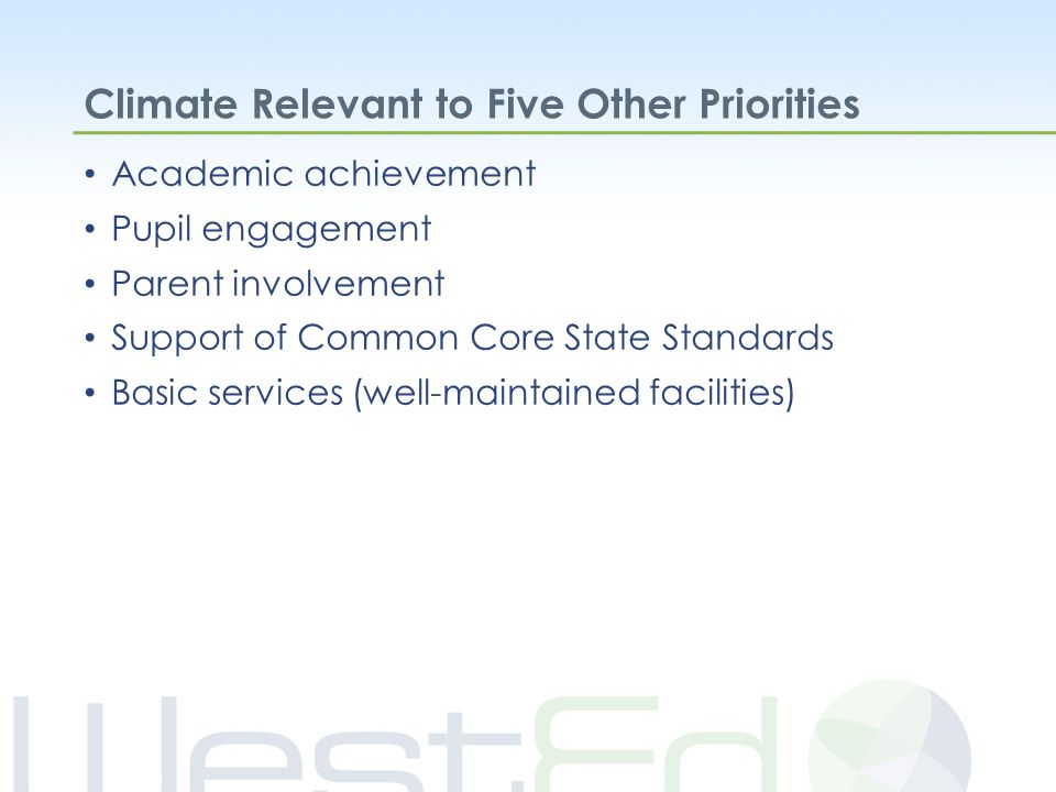 Climate Relevant to Five Other Priorities Academic achievement Pupil engagement Parent involvement Support of Common Core State Standards Basic services (well-maintained facilities)