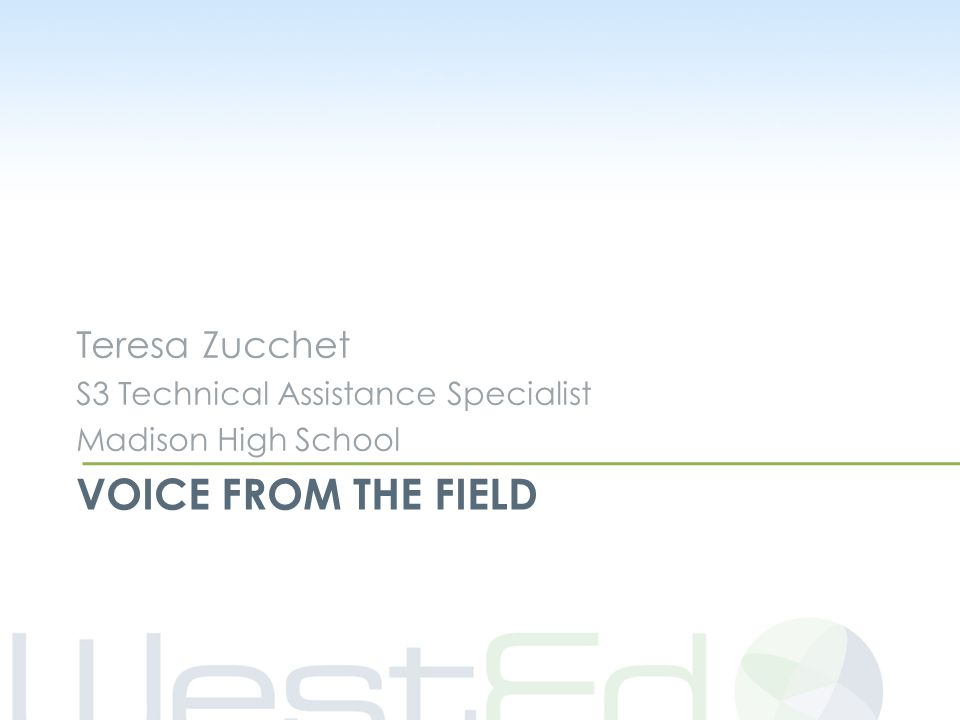 VOICE FROM THE FIELD Teresa Zucchet S3 Technical Assistance Specialist Madison High School