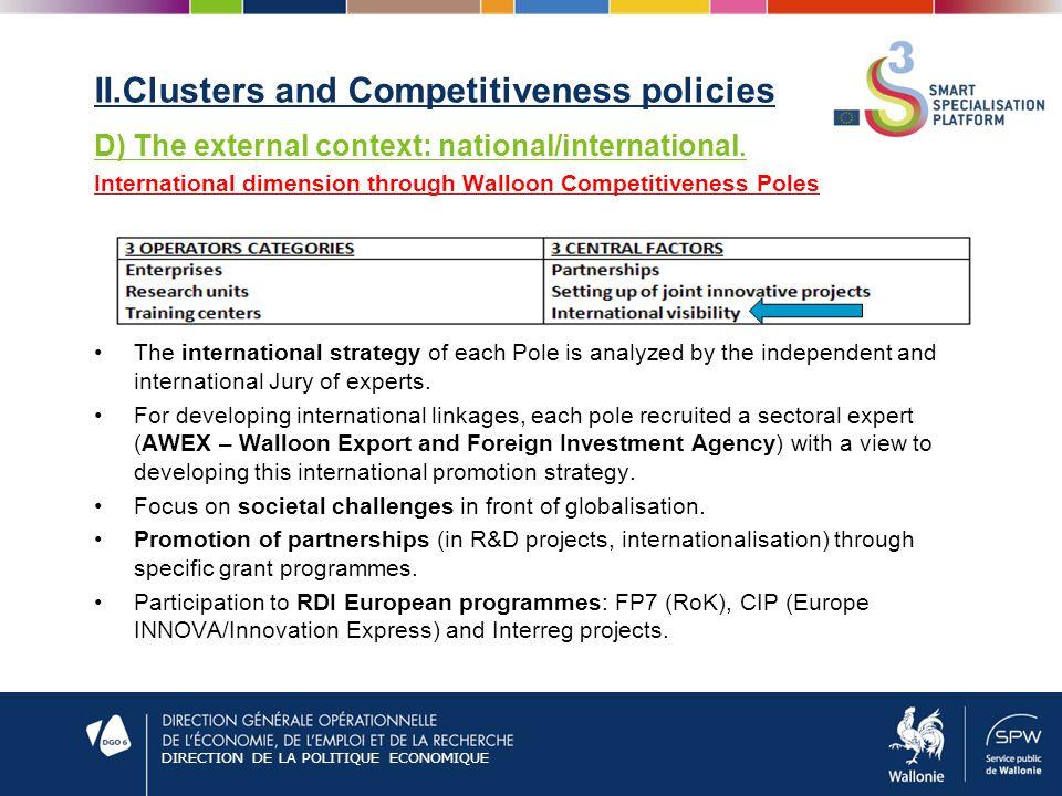 DIRECTION DE LA POLITIQUE ECONOMIQUE II.Clusters and Competitiveness policies D) The external context: national/international.