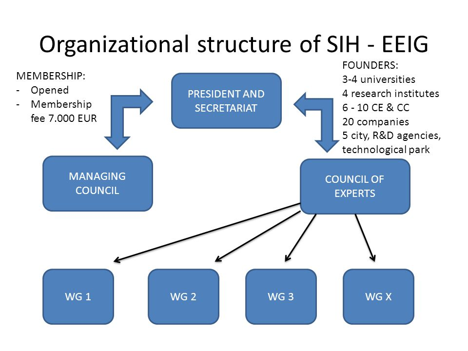 Organizational structure of SIH - EEIG MANAGING COUNCIL COUNCIL OF EXPERTS WG X PRESIDENT AND SECRETARIAT WG 3 WG 2 WG 1 FOUNDERS: 3-4 universities 4 research institutes 6 - 10 CE & CC 20 companies 5 city, R&D agencies, technological park MEMBERSHIP: -Opened -Membership fee 7.000 EUR