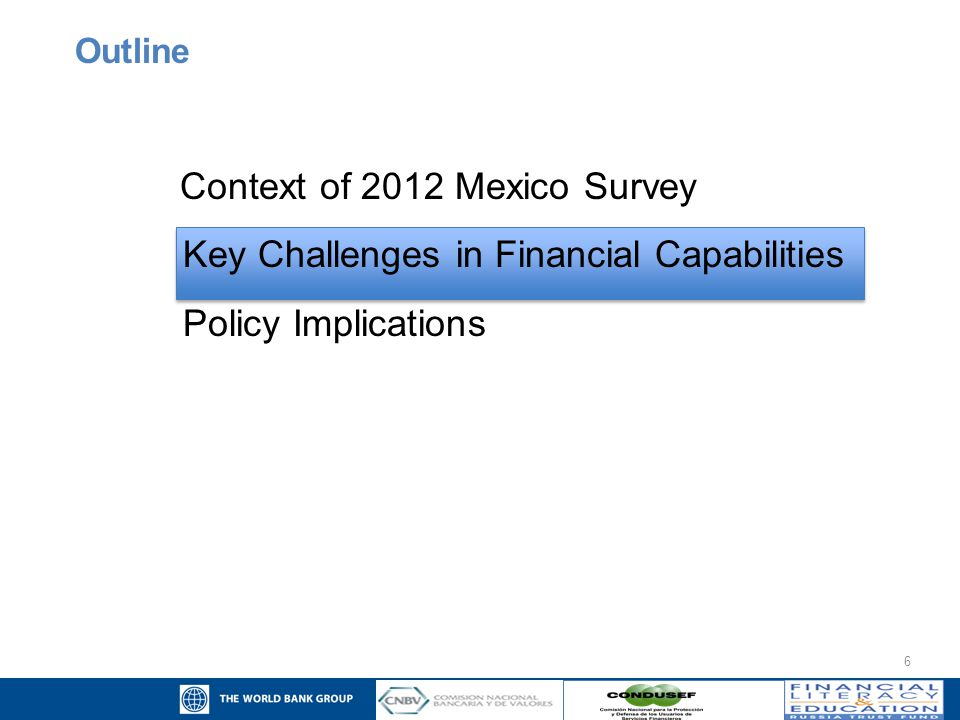 17 Context of 2012 Mexico Survey Key Challenges in Financial Capabilities Policy Implications Outline