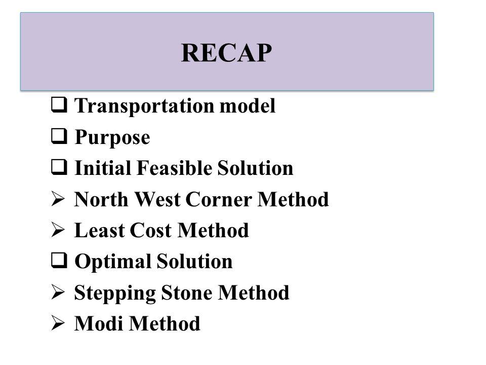 RECAP  Transportation model  Purpose  Initial Feasible Solution  North West Corner Method  Least Cost Method  Optimal Solution  Stepping Stone Method  Modi Method