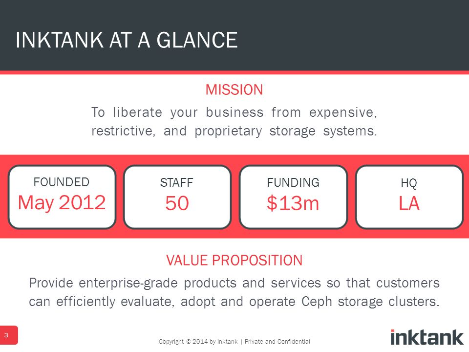 MISSION To liberate your business from expensive, restrictive, and proprietary storage systems. INKTANK AT A GLANCE 3 FOUNDED May 2012 STAFF 50 FUNDIN