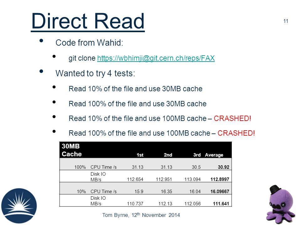 Tom Byrne, 12 th November 2014 Direct Read Code from Wahid: git clone https://wbhimji@git.cern.ch/reps/FAXhttps://wbhimji@git.cern.ch/reps/FAX Wanted
