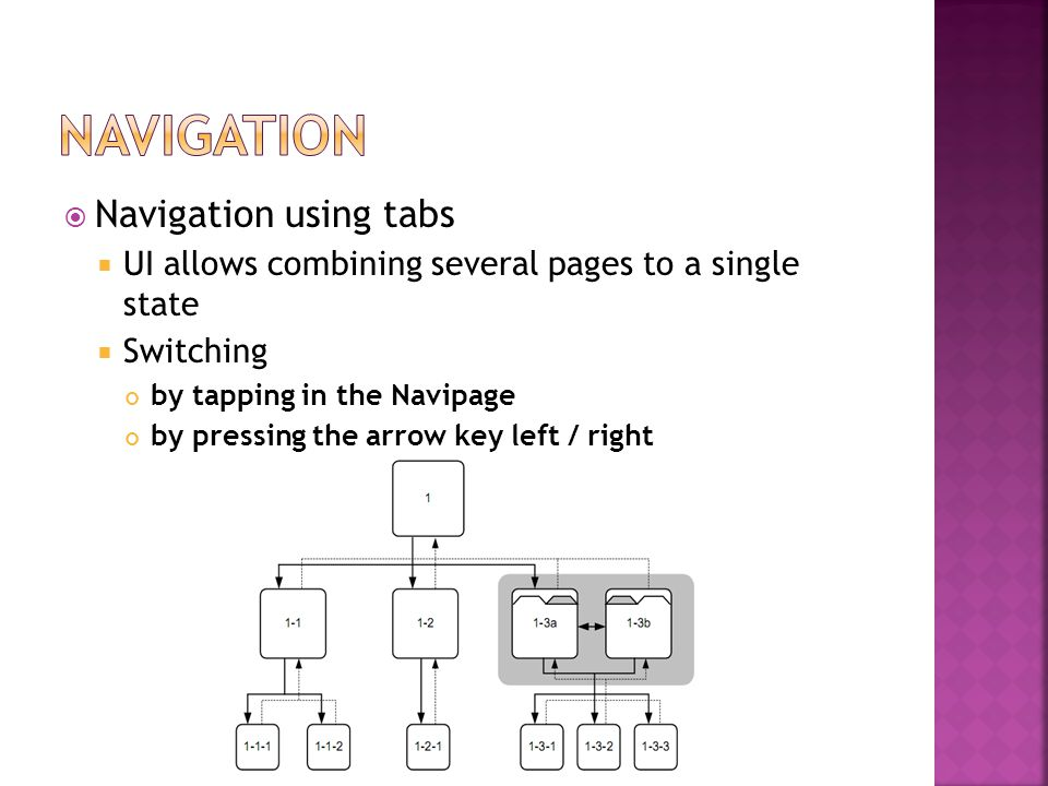  Navigation using tabs  UI allows combining several pages to a single state  Switching by tapping in the Navipage by pressing the arrow key left / right