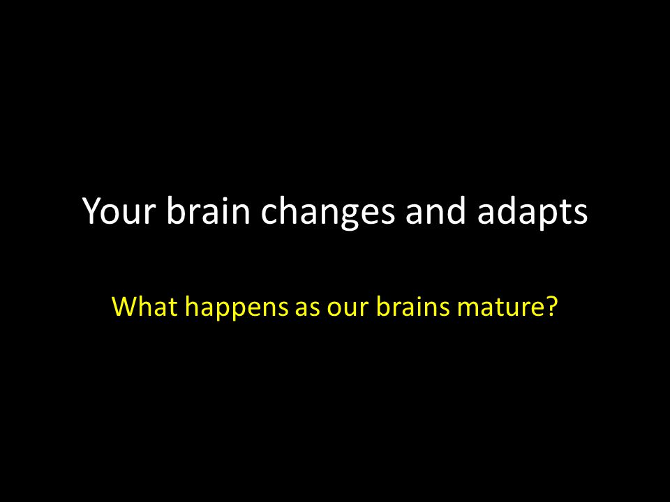 Your brain changes and adapts What happens as our brains mature?
