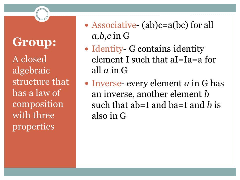 Symmetric Group Set of all permutations  Ex.
