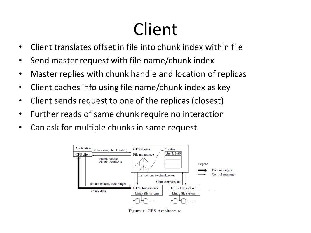 Client Client translates offset in file into chunk index within file Send master request with file name/chunk index Master replies with chunk handle and location of replicas Client caches info using file name/chunk index as key Client sends request to one of the replicas (closest) Further reads of same chunk require no interaction Can ask for multiple chunks in same request