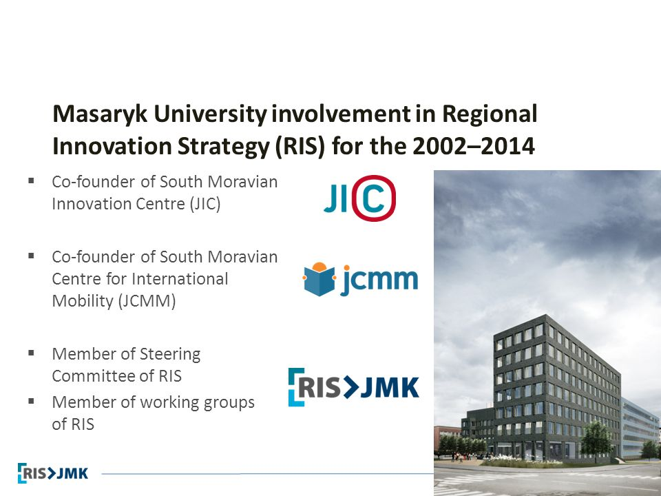Regional Innovation Strategy Masaryk University involvement in Regional Innovation Strategy (RIS) for the 2002–2014  Co-founder of South Moravian Inn