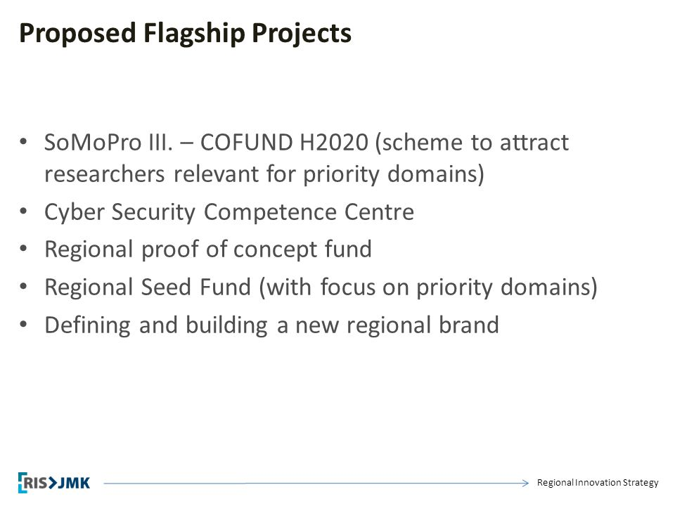 Regional Innovation Strategy Proposed Flagship Projects SoMoPro III. – COFUND H2020 (scheme to attract researchers relevant for priority domains) Cybe