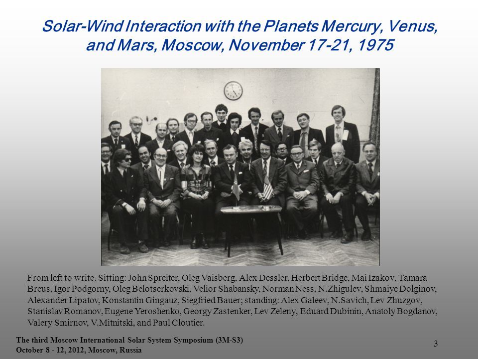 Solar-Wind Interaction with the Planets Mercury, Venus, and Mars, Moscow, November 17-21, 1975 From left to write. Sitting: John Spreiter, Oleg Vaisbe